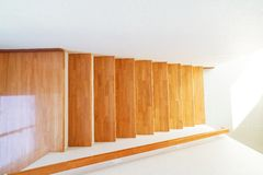 Wooden staircase. Staircase inside the house made from wood Stock Image