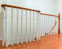 Wooden staircase interior. In the modern house stock photography