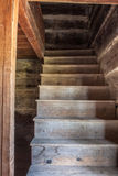 Wooden Staircase in Log Building Royalty Free Stock Photography