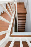 Wooden staircase made from laminate wood Royalty Free Stock Image