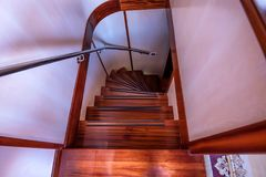 Wooden staircase on modern yacht stock image