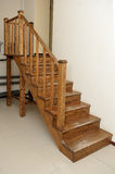 Wooden staircase is not big on the second floor Royalty Free Stock Images