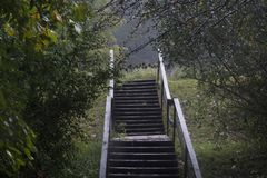 Wooden staircase during rainstorm Royalty Free Stock Photography