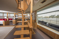 Wooden staircase in salon of luxury yacht Stock Image