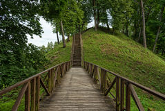 Wooden staircase, Vytautas hill, Birstonas Lithuania. Summer landscape. Vytautas hill is one the highest the height of slopes is up to 40m and best known mounds Royalty Free Stock Photography