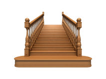 Wooden stairs. Front view isolated on white Stock Images