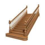 Wooden stairs. Isolated on white Royalty Free Stock Photos