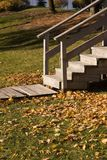 Wooden  stairs. Wooden walkway and stairs Stock Photography