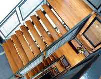 Wooden stairs at the building Royalty Free Stock Photography