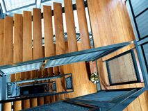 Wooden stairs at the building Stock Images