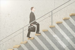 Wooden stairs with businessman Royalty Free Stock Photography