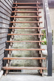 Wooden stairs in coffee shop Stock Images