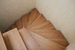 Wooden stairs. The construction of the stairs in the house. Royalty Free Stock Photo