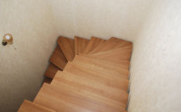 Wooden stairs. The construction of the stairs in the house. Stock Image