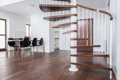 Wooden stairs in contemporary house Stock Photography