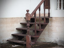 Wooden stairs damaged from floods. Wooden stairs damaged from floods Royalty Free Stock Images
