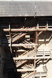 Wooden stairs in donjon tower. With thatch roof of Castle Rabi (Czech Republic royalty free stock photo
