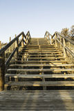 Wooden stairs on the dunes to access the beach.Guardamar del Seg Royalty Free Stock Photography