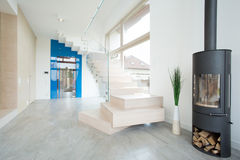 Wooden stairs. In entrance hall leading to the first floor Stock Images
