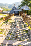 Wooden stairs and fence in Kusturica Drvengrad in Serbia Stock Photography