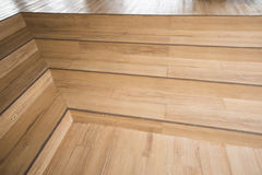 Wooden stairs four step in home Stock Photos
