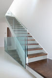 Wooden stairs with glass balustrade. In modern interior and white epoxy flooring Stock Photography