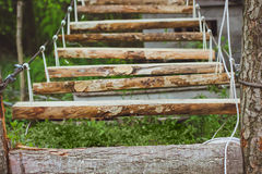 Wooden stairs in the green forest park Stock Photos