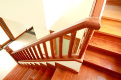 Wooden stairs and handrail Stock Images