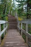Wooden stairs on hiking trail at Tettegouche State Park along the shores of Lake Superior royalty free stock photography