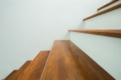 Wooden stairs in home Stock Images