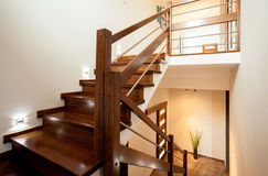 Wooden stairs at home Royalty Free Stock Photography