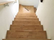 Wooden stairs in the house royalty free stock photography