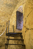 Wooden stairs, Interior of the medieval castle of the city of Co Royalty Free Stock Image