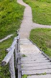 Wooden stairs on the mound. Wooden stairs leading from the summit of Buivydai mound. Vilnius district, Lithuania Royalty Free Stock Photos