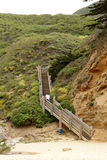 Wooden stairs leading to Half Moon Bay, California Stock Image