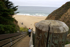 Wooden stairs leading to Half Moon Bay, California Stock Photos
