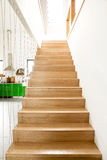 Wooden stairs in modern house Stock Image