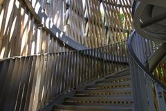 Wooden stairs of modern tower. Some wooden stairs of modern tower. A way to the top royalty free stock photography
