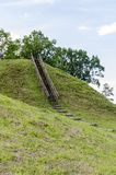 Wooden stairs on the mound. Wooden stairs leading to the summit of Buivydai mound. Vilnius district, Lithuania Stock Image