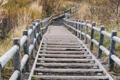 Wooden stairs on Mt. Usu or Ususan at Hokkaido, Japan