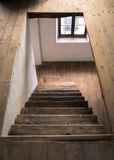 Wooden stairs of an old country house. Stock Photo