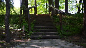 Wooden stairs in the park stock footage