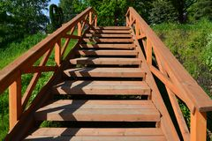 Wooden stairs in public Eco Shore Park in Khimki, Russia Stock Photography