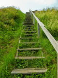 Wooden stairs reaching into the sky Royalty Free Stock Images