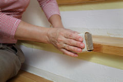 Wooden stairs sanding Stock Photos