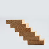 Wooden stairs, stairways ladder. Retro style staircase macro view. soft focus. copy space Stock Image