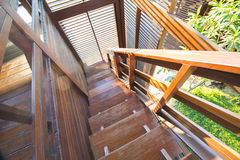 Wooden stairs in thai house style Royalty Free Stock Photos
