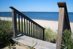 Wooden Stairs to Atlantic Ocean Royalty Free Stock Photography