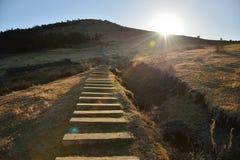 Wooden Stairs to the Baekyaki volcanic cone Stock Photo