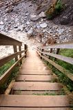 Wooden stairs to the beach. Wooden stairs exterior stairs to go down the landscape to your beach stock photo